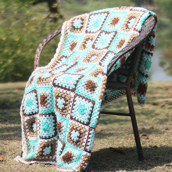 Plaid Patchwork Crochet Knitting Throw Blanket - MINT MINT