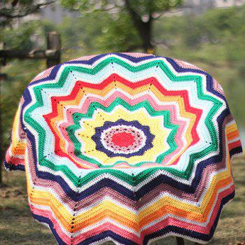 Chevron Wave Cut Crochet Knitting Round Throw Blanket - COLORMIX COLORMIX