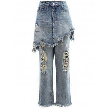 Frayed Ripped Skirted Jeans - LIGHT BLUE S