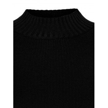 Funnel Neck Plus Size High Low Sweater - 3XL 3XL
