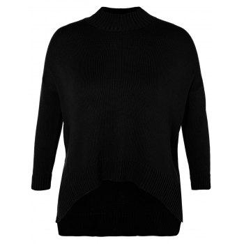 Funnel Neck Plus Size High Low Sweater