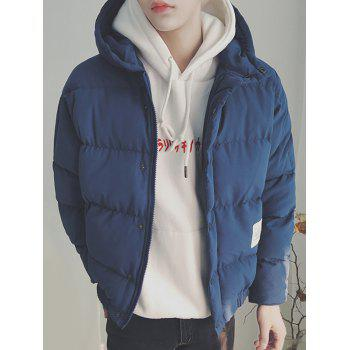 Patch Design Zip Up Hooded Puffer Jacket