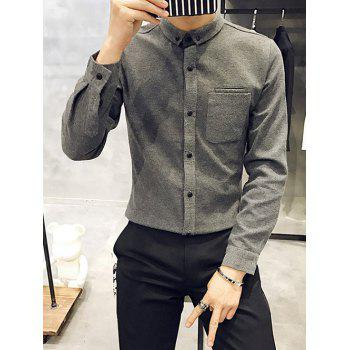 Slim Fit Button Down Long Sleeve Pocket Shirt
