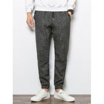 Tapered Fit Drawstring Waist Heather Jogger Pants
