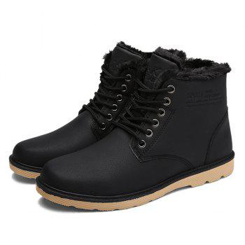 Lace Up Cotton Liner Faux Leather Ankle Boots - BLACK BLACK