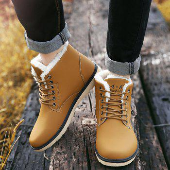 Lace Up Cotton Liner Faux Leather Ankle Boots - 44 44