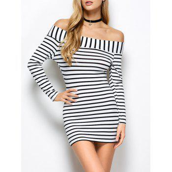 Striped Off The Shoulder Long Sleeve Bodycon Dress