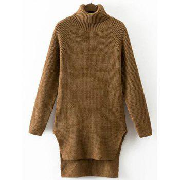 Turtleneck Pullover High Low Sweater