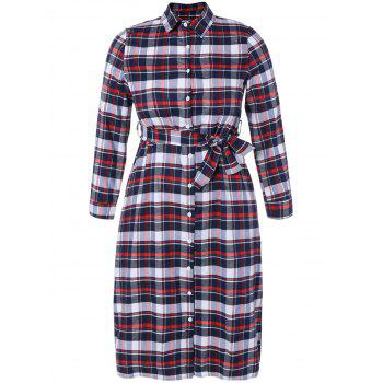 Checked Tea Length Shirt Dress