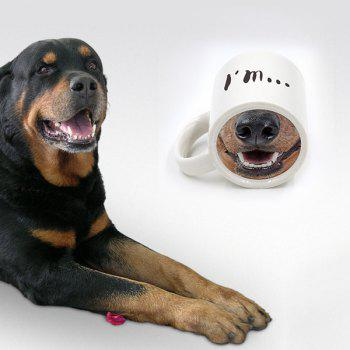 Ceramic Drinkware Cartoon Dog Nose Coffee Mug - WHITE