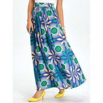 Pleated A Line Floral Maxi Skirt