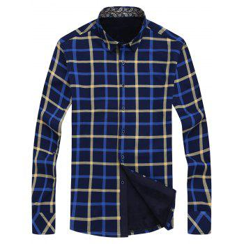 Flocking Angle Cut Cuff Checked Shirt