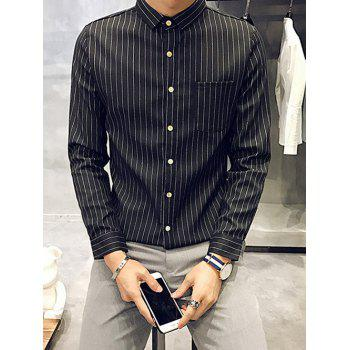 Buy Flocking Chest Pocket Button Front Striped Shirt BLACK