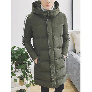 Zip Up Striped Sleeve Hooded Padded Coat