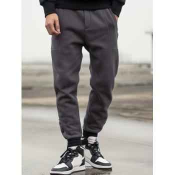 Drawstring Buttoned Pocket Jogger Pants