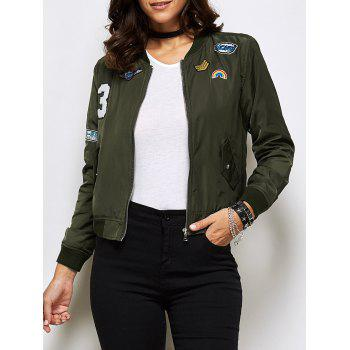 Appliques Bomber Jacket With Pockets
