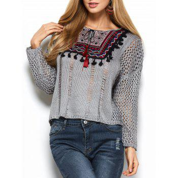 Tassels Ripped Crochet Sweater