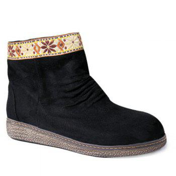 Ethnic Style Embroidered Panel Ruched Snow Boots