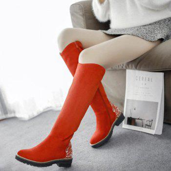 Low Heel Embroidered Knee High Boots - 39 39