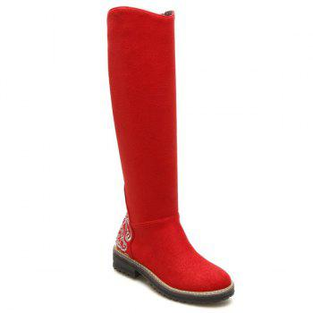 Low Heel Embroidered Knee High Boots - RED 39