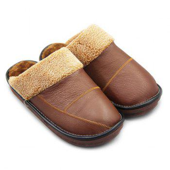 Stitching PU Leather Colour Block House Slippers