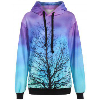 3D Ombre Color Tree Print Hoodie