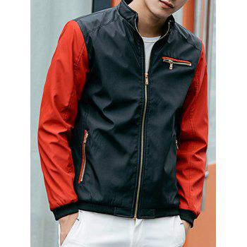 Zip Pocket Stand Collar Two Tone Jacket