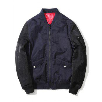Zip Up Pocket Stand Collar Two Tone Jacket