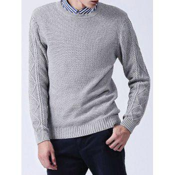 Knitted Crew Neck Texture Sweater