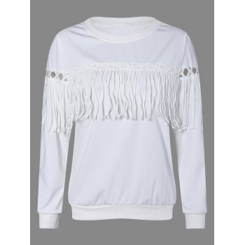Fringed Openwork Sweatshirt - WHITE 2XL