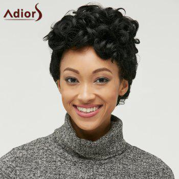 Short Adiors Fluffy Curly Side Parting Synthetic Wig - BLACK