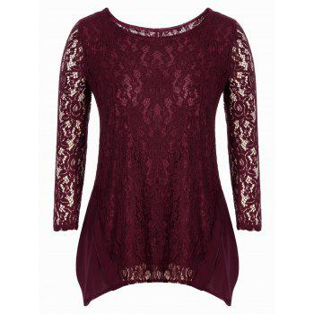 Asymmetrical Floral Lace Blouse