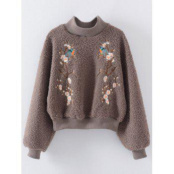 High Neck Floral Embroidered Sherpa Sweatshirt