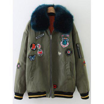 Fur Collar Patch Design Padded Bomber Jacket