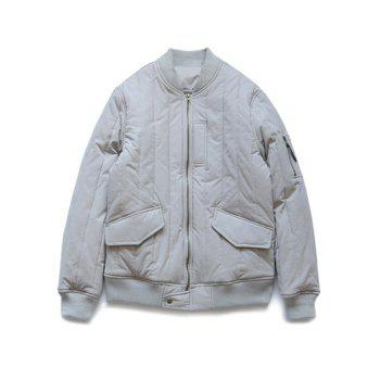 Stand Collar Flap Pocket Quilted Bomber Jacket