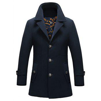 Single Breasted Button Tab Cuff Pocket Coat