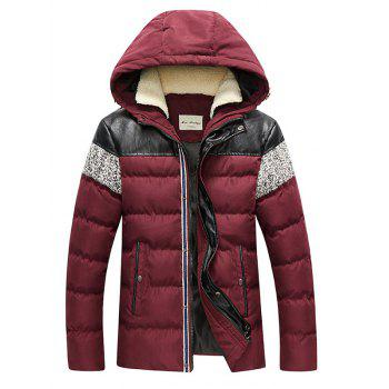 Zip Up Faux Leather Panel Hooded Padded Jacket