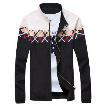 Stand Collar Criss Cross Pattern Zip Up Jacket