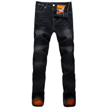 Flocking Scratched Pocket Dark Wash Jeans