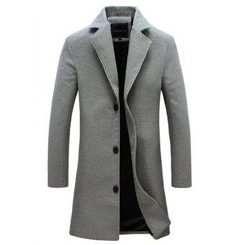 Buy Lapel Plus Size Longline Single Breasted Woolen Blends Coat GRAY