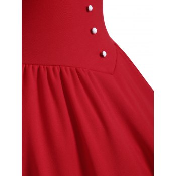 Buttoned Half Sleeves Ruched Flare Dress - RED 2XL