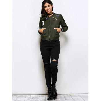 Appliques Bomber Jacket With Pockets - ARMY GREEN XL