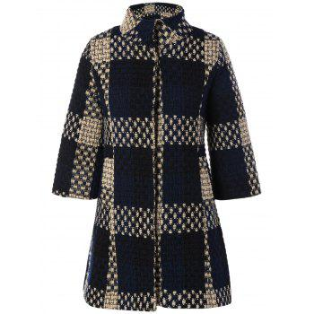 Three Quarter Sleeve Plaid Coat