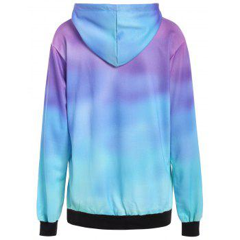 3D Ombre Color Tree Print Hoodie - BLUE XL