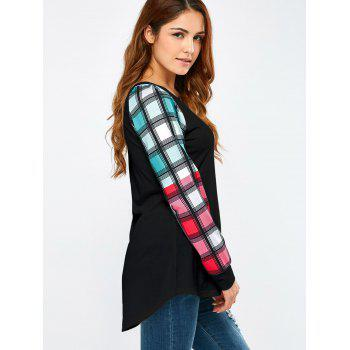 Colorful Plaid Sleeve Tee - BLACK BLACK