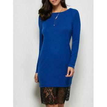 Lace Panel Long Sleeve Pullover Dress - ROYAL ROYAL