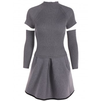 Round Collar Knit Ribbed A Line Dress