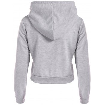 Hangover Print Cropped Hoodie - GRAY L