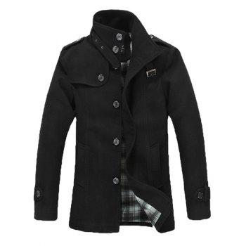 Belt Design Epaulet Single Breasted Woolen Blends Coat