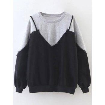 Crew Neck Cami Panel Sweatshirt